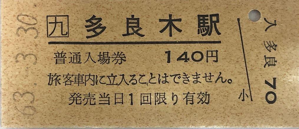 多良木駅入場券